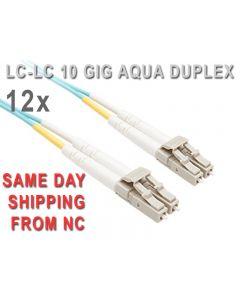 QTY 12  LC-LC 10 GIGABIT OM3 50/125 MULTIMODE DUPLEX 10 METER