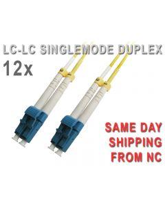 QTY 12  LC-LC SINGLEMODE 8.3/125 um UPC DUPLEX FIBER PATCH CORD 15M